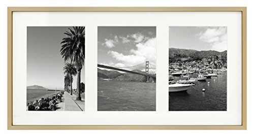 9x18 Gold Frame - Ivory Mat for Three 5x7 Pictures - Aluminum Metal - Sawtooth Hangers- Swivel Tabs - Wall Mounting - Landscape/Portrait - Real Glass - Collage Frame