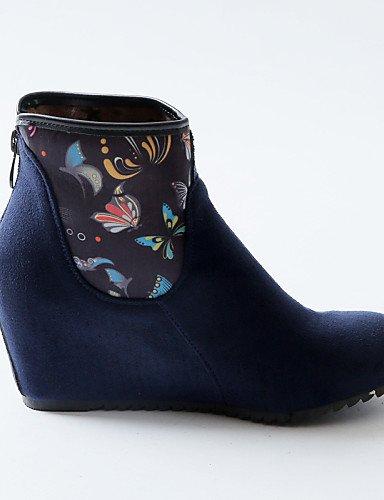 Black Blue Tacón Negro Zapatos Vestido Casual Redonda Cn43 Mujer Uk8 us3 Eu42 Azul Cuñas De Tejido Vellón us1 Cuña 5 Moda A Botas La Marino Cn32 Eu33 Uk1 us10 Xzz Dark Blue 5 5 Punta 5 aRqww