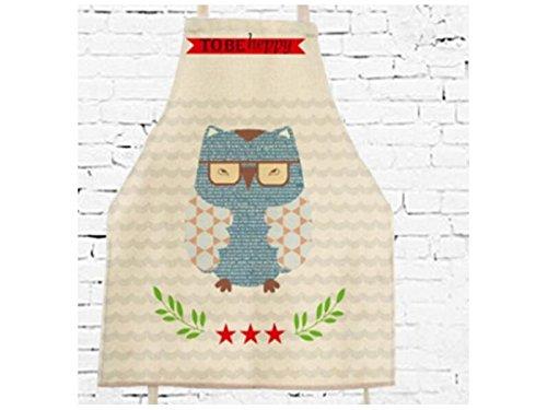 Gelaiken Perfect Cotton Linen Cartoon Owl Printed Letter Apron Hanging Neck Animal Sleeveless Unisex Apron by Gelaiken (Image #2)