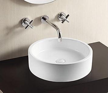 Waschbecken rund  Art of Baan - Design Waschbecken Rund 500x500x90mm in weiß, mit ...