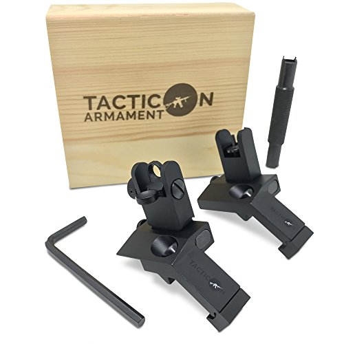 Metal Optic Sights (TACTICON 45 Degree Offset Flip Up Iron Sights For Rifle Includes Front Sight Adjustment Tool | Rapid Transition Backup Front And Rear Iron Sight BUIS Set Picatinny Rail And Weaver Rails)