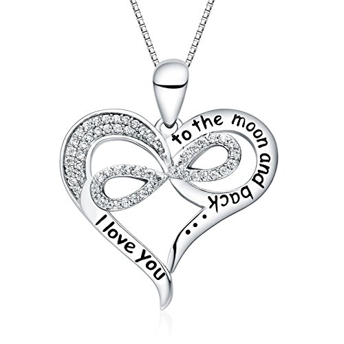 (FANCYCD I Love You to The Moon and Back Love Heart Necklace, 18