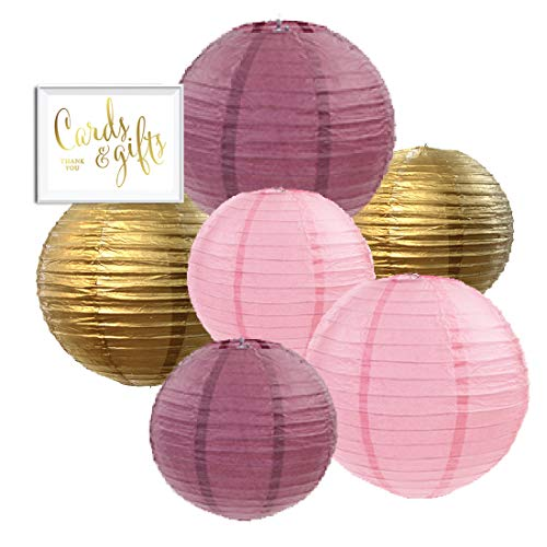 - Andaz Press Burgundy, Blush Pink, Gold Hanging Paper Lanterns Decorative Kit, 6-Pack with Free Gifts Table Party Sign, Blush, Pastel, Bridal Shower, Birthday Party Decorations, Assorted 8-Inch 10-Inch