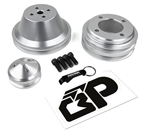 BlackPath - 302 + 351W + 351C + 400M V-Belt Pulley Kit Ford Engines (Polished) T6 Billet