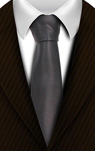 Leather Skinny Tie - Men Silk Ties Paisley Necktie Set with Pocket Suqare Hanky and Cufflinks by HAZELNUTS FOR Z