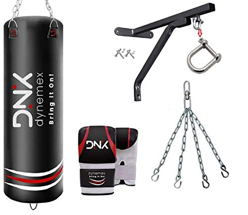 DYNEMEX   Punching Bag for Boxing Training unfilled 5ft Muay Thai Training Gloves with Punch Mitts, Wall Bracket, Chain…