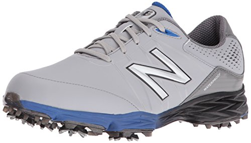 New Balance Men's NBG2004 Waterproof Spiked Comfort Golf Shoe, Grey/Blue, 10.5 M US