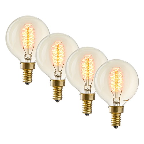 Candelabra Edison Light Bulbs, Vintage Style, Mini Globe G16.5, Fully Dimmable, Warm White, 40W (E12), Spiral Filament, Brooklyn Bulb Co. Baltic Design - Set of 4