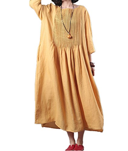 Loose Fabric (YESNO J93 Women Long Loose Maxi Pleated Dress Lady Style Elegant 100% Linen Crew Neck Long Sleeve Large Skirt/Pocket (2XL, Yellow))