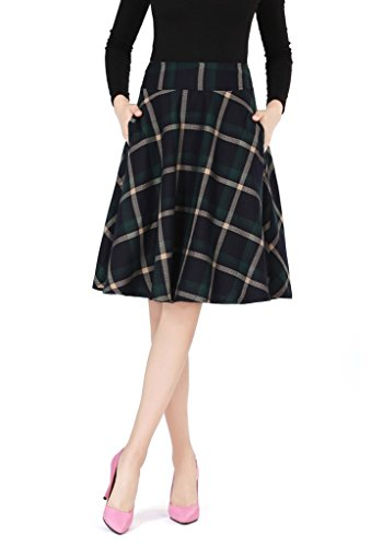 Ashir Aley High Waisted A Line Flared Swing Woman's Green Plaid Midi Skirt
