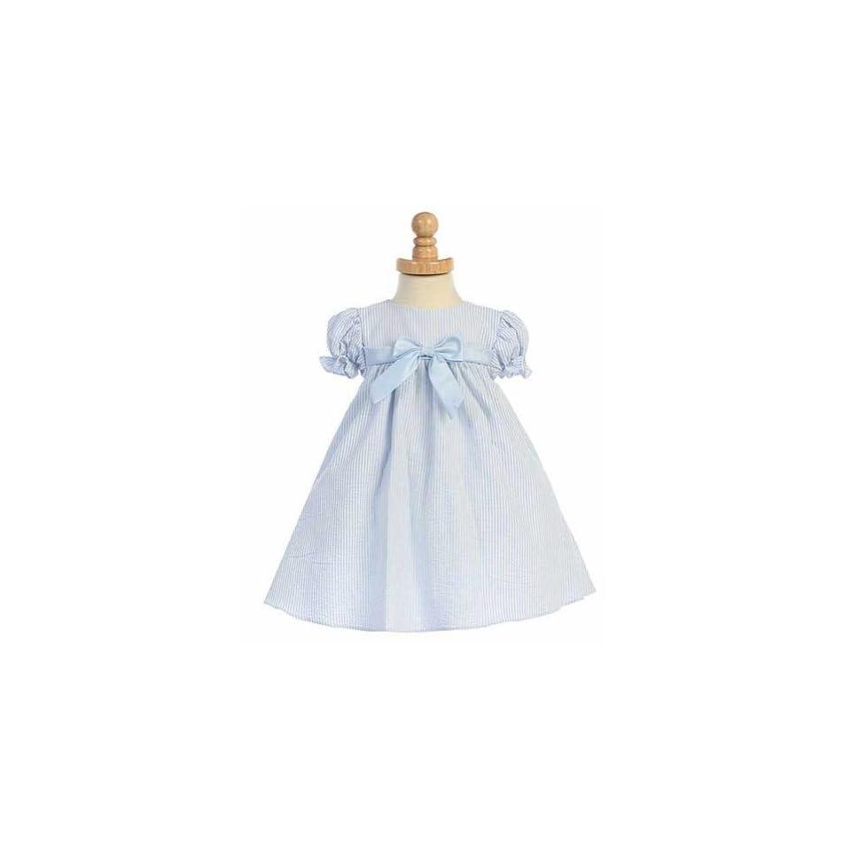 Lito Blue Striped Seersucker Bow Easter Spring Dress Baby Girls 6M