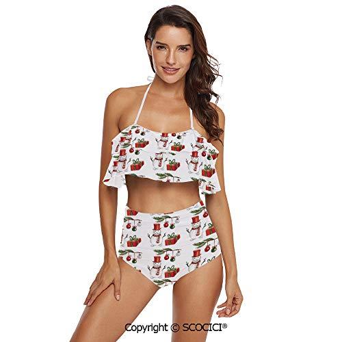 - SCOCICI Bikini Swimsuit Watercolor Style Holly Jolly Xmas Motif with Snowmnan a