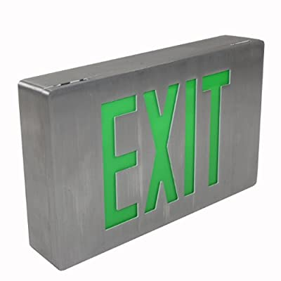 Isolite Green Die-Cast All Brushed Aluminum LED Emergency Exit Sign Light LPDC Series 120/277 Green Letters