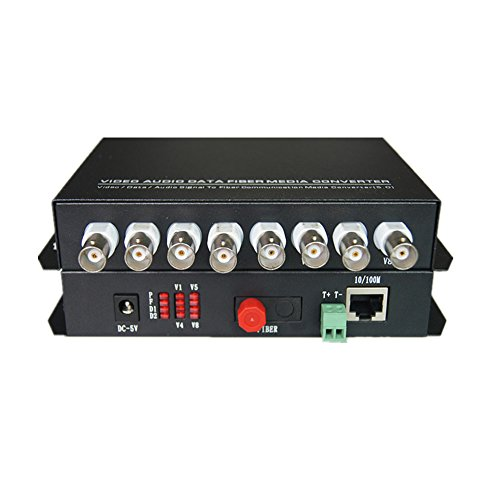 Guantai Video Fiber Optic Media Converters - 8 Channels Video Extender with 10/100Mbps Ethernet RJ45 and RS485 Data - Working Distance 20Km ()
