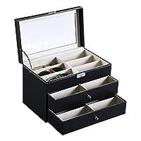 Accuyc Deluxe 18 Slot Eyeglass Sunglass Storage Box, Pu Leather Glasses Display Case Storage Organizer Collector with Drawer Storage Box (Black)