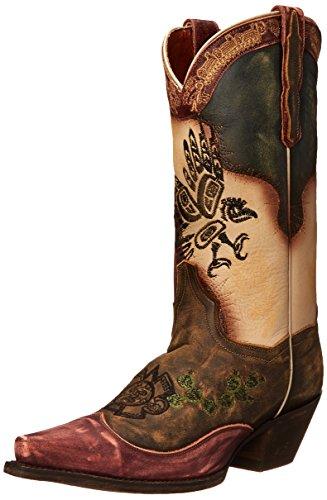 Dan Post Women's Carlita Western Boot, Tan/Multi, 8.5 M US