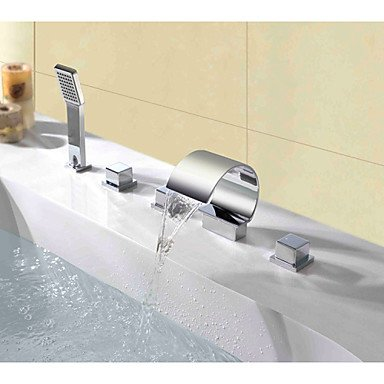 Contemporary deck posted triple waterfall spray handle bathroom faucet with shower by FAUCET&YAMEIJIA