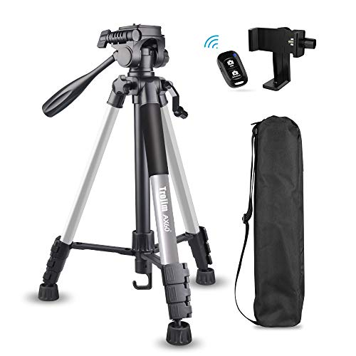 "Torjim 60"" Camera Tripod with Carry Bag, Lightweight Travel Aluminum Professional Tripod Stand (5kg/11lb Load) with Bluetooth Remote for DSLR SLR Cameras Compatible with iPhone & Android Phone-Silver"