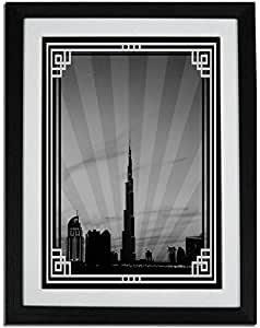 Dubai Skyline Down Town - Black And White With Silver Border No Text F01-m (a1) - Framed