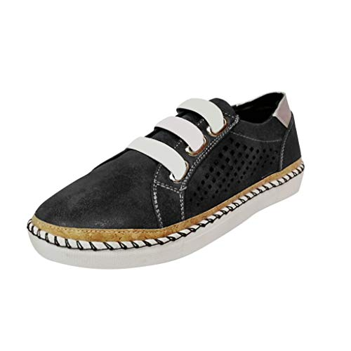 TnaIolral Ladies Shoes Flats Hollow-Out Round Toe Summer Breathable Sneakers (US:7, Black)