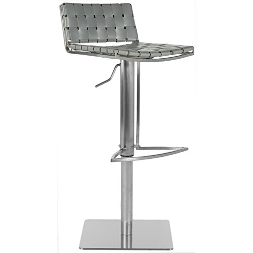 Mitchell Leather Furniture - Safavieh Home Collection Mitchell Stainless Steel and Grey Leather Adjustable Gas Lift 21.7-30.7-inch Bar Stool