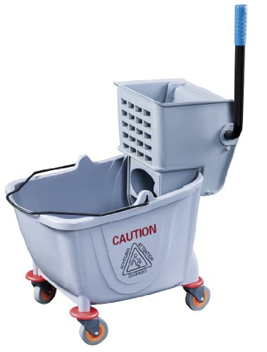 (New Star Foodservice 54712 Commercial Mop Bucket and Wringer, 36-Quart, Grey)