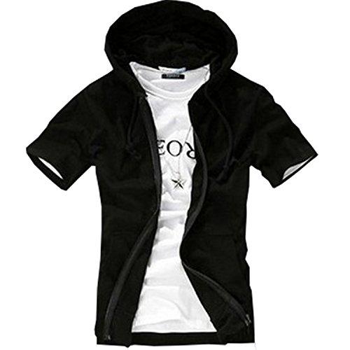AMBLY パーカー メンズ 薄手 半袖 無地 トレーナー ジップアップ Tシャツ 青 黒 グレー 春 夏 秋 メンズファッション