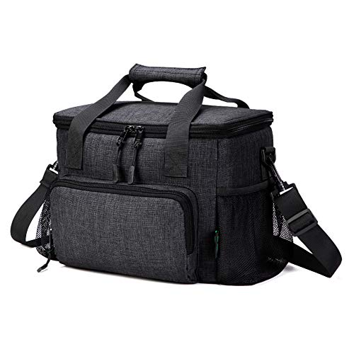 Men Lunch Bag, 18 Cans Large Leak-proof Insulated Lunch Box, Soft Adult Big Lunch Bag with Shoulder Strap and Side Pocket for Work and Outdoor by F40C4TMP