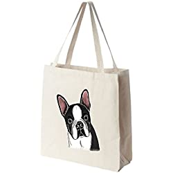 Boston Terrier Tote Bags - Over 200 Different Breed and Animal Designs to Choose From - Extra Large 100% Cotton Over the Shoulder Handbags - Painted by Hand and Printed in the U.S.A.