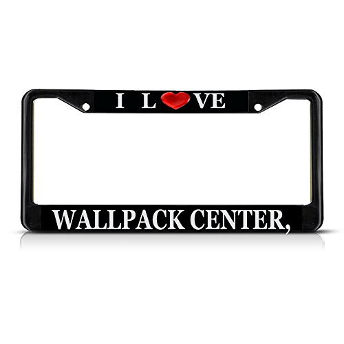 Sign Destination Metal License Plate Frame Solid Insert I Love Heart Wallpack Center, Nj Car Auto Tag Holder - Black 2 Holes, Set of 2 ()