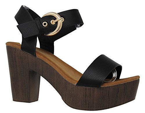 MVE Shoes Women's Ankle Strap Faux Wood Platform Chunky Heel Sandal, Black Size 9