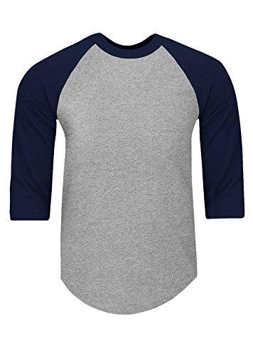 (RA0503_XL Baseball T Shirts Raglan 3/4 Sleeves Tee Cotton Jersey S-5XL H.Grey/Navy 1X )