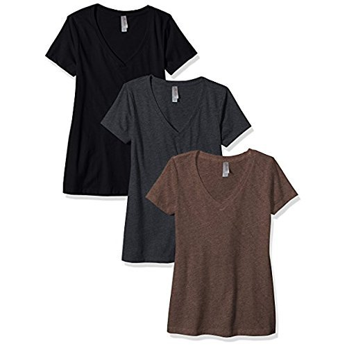 (Clementine Apparel Women's Petite Plus Deep V Neck Tee (Pack of 3), Black/Charcoal/Espresso, XXL)