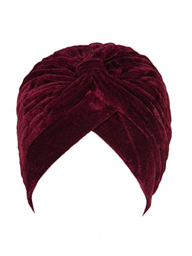 - PERSUN Women Wine Red Velvet Turban Hat