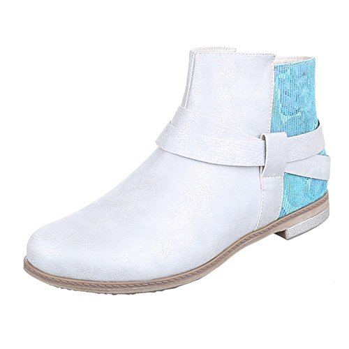 Damen Schuhe, H539, Stiefeletten Moderne Boots Silber Blau