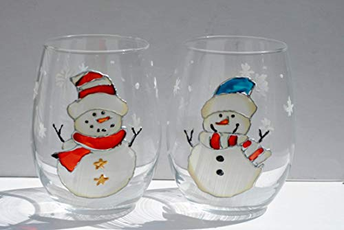 Winter Snowman Set of 2 Hand Painted Stemless Wine Glasses