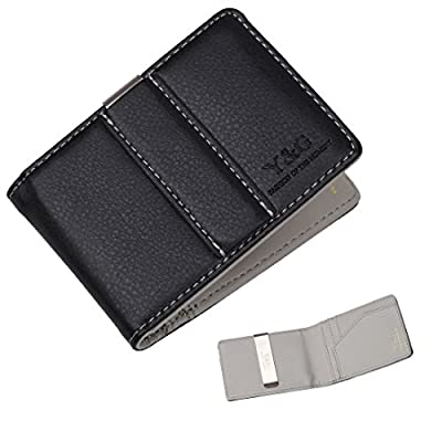 YCM15 Fashion Stainless Steel Leatheret Wallet Card Holders for Mens By Y&G