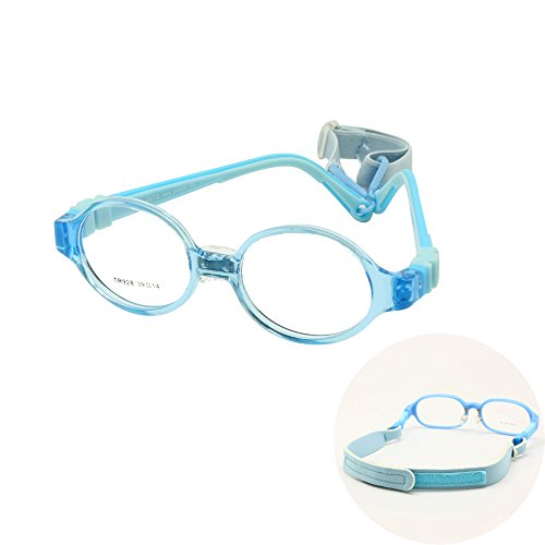Boys Girls Glasses Size 39 with Nose Pad Strap No Screw Flexible Silicone Bendable Optical Frame Children Kids Eyeglasses (blue)
