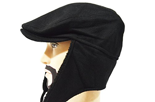 Solid Black Cool Thick Paperboy Earflap Driving Ivy Winter Warm Casual Cap Hat