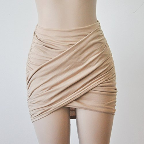 Mini Bodycon Colores Verano Coctel Plisado Nocturno Sexy Falda Partido Albaricoque Lisos Faldas Mujeres Club Corto OfFwxvf