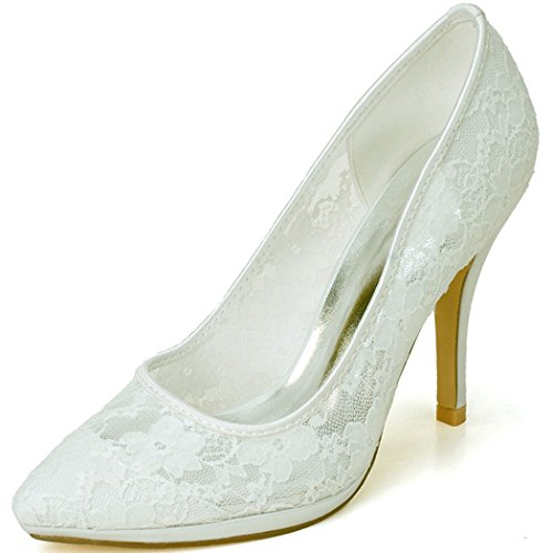 Clearbridal Women's Pointed Toe Lace Wedding Bridal Shoes Pumps Heels for Evening Prom Party ZXF0255-30A Ivory UK5.5
