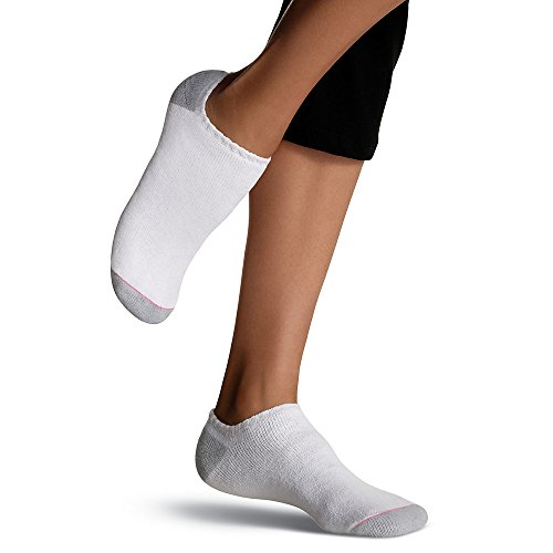Hanes Women's Athletic No-Show Socks,,White,,2Pk (12 Pairs) 8-12