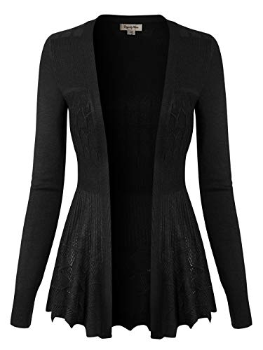 Design by Olivia Women's Long Sleeve Crochet Knit Draped Open Sweater Cardigan L, Icaw015 Black ()