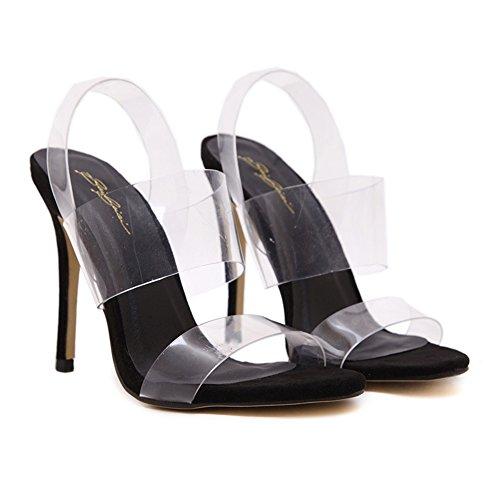 Zapatos Strappy Tobillo Alto Plataforma Paseo Black Fiesta Tacón Estilete Correa Verano Sandalias Peep Toe De Señoras Mujer Noche 1wHOgvqxtn