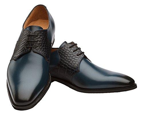 Chaussures Dapper Co. Véritables Hommes En Cuir Fabriqués À La Main Brogue Classique Oxford Wingtip Cuir Et Chaussures Bleu Marine Richelieus Robe Perforées