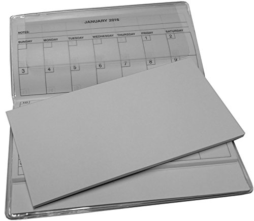 "Checkbook Size (3"" x 6"") 2 Year 2016- 2017 + 2017-2018 Clear Vinyl Cover & Note pad"
