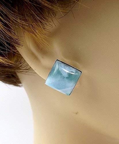 Larimar Something Blue Square Diamond Shaped Stud Earrings
