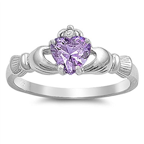 Simulated Amethyst Promise Claddagh Friendship Ring 925 Sterling Silver Band Size 7