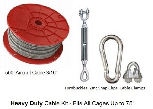 - Baseball Batting Cage Cable Suspension Kit - Heavy Duty - Indoor / Outdoor
