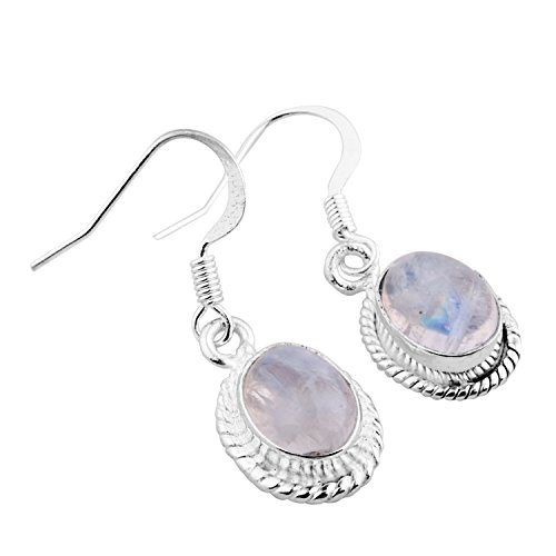 Sterling Silver Overlay (6.50ctw Genuine Rainbow Moonstone .925 Sterling Silver Overlay Handmade Fashion Earring Jewelry)